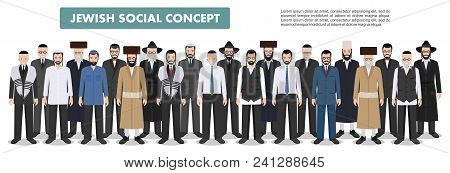 Jewish Men Standing Together In Different Traditional Clothes On White Background In Flat Style. Gro