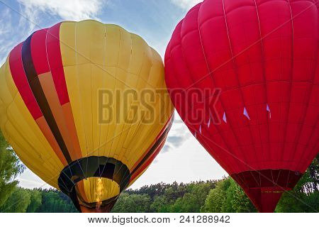 A Balloon With A Basket Filled With Hot Air And Ready For Flight. Preparation Of A Balloon For Fligh
