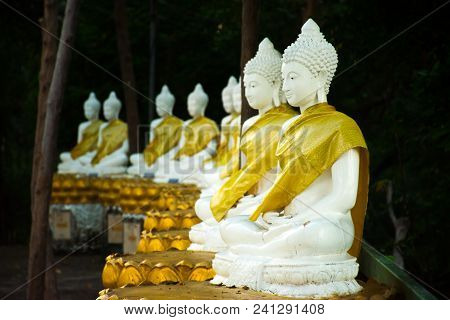 Reclining Buddha Statue In Wat Khao Chedi On Koh Samui In Thailand.