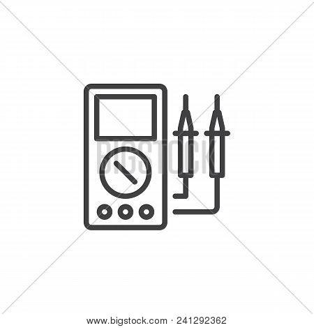Voltmeter Outline Icon. Linear Style Sign For Mobile Concept And Web Design. Electrical Test Meter S