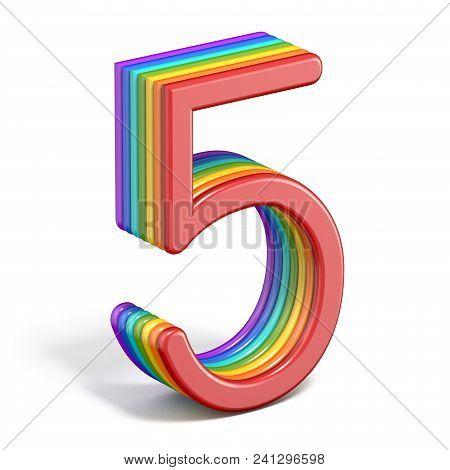 Rainbow Font Number 5 Five 3d Rendering Illustration On White Background
