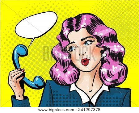 Vector Portrait Of Young Woman Amazed From Hearing And Holding Telephone Receiver In Her Hand. Moder