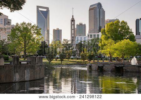 City Skyline Of Charlotte North Carolina From Marshall Park