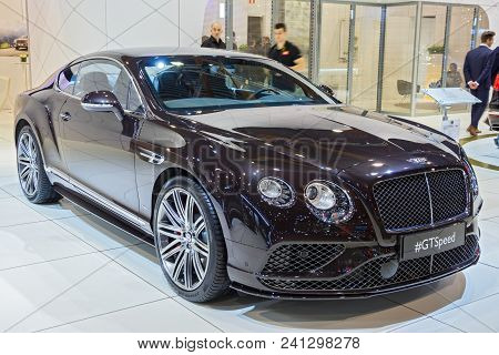 Brussels - Jan 12, 2016: Bentley Continental Gt Speed Car Showcased At The Brussels Motor Show.