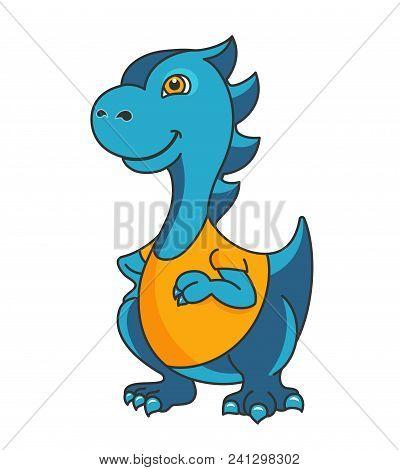 Cartoon Dragon Or Dinosaur Mascot. Editable Vector Illustration