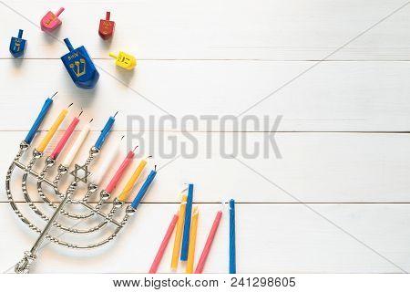 Hanukkah/ Chanukah Jewish Holiday Background With Menorah (judaism Candelabra) Burned Candles And Dr