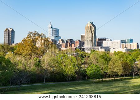 Raleigh, Nc - April 17, 2018: Raleigh, North Carolina Skyline From Dorothea Dix Park