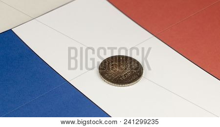 Money Of France Against The Background Of The Flag