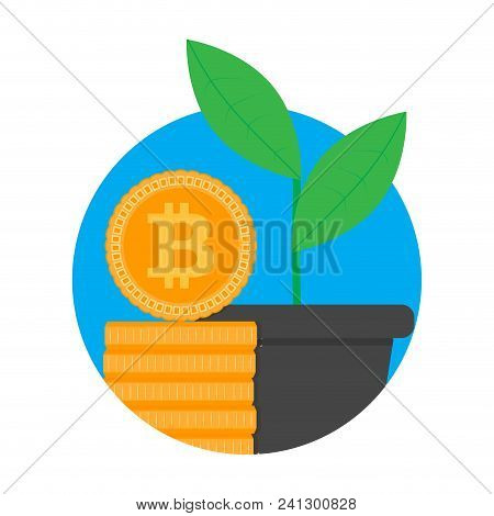 Growth And Development Ico Start Up. Begin New Project, Stack And Pot. Vector Illustration