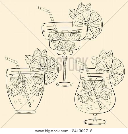 Alcoholic Cocktail Glass Hand Drawn Sketch Vector Illustration. Alcohol Drink In Different Glass Iso