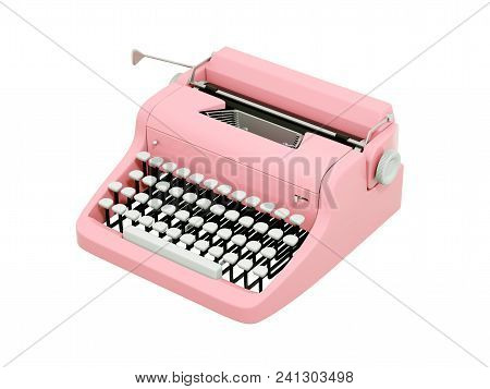 Pink Vintage Typewriter Isolated On White. 3d Illustration