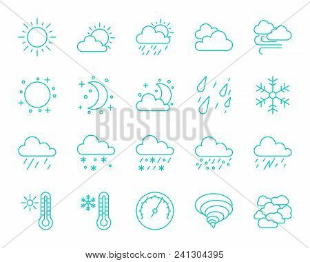 Weather Thin Line Icons Set. Outline Monochrome Web Sign Kit Of Meteorology. Climate Linear Icon Col