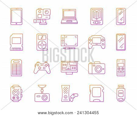 Device Thin Line Icons Set. Outline Vector Web Sign Kit Of Gadget. Electronics Linear Icon Collectio