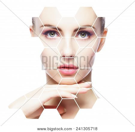 Portrait Of Young, Healthy And Beautiful Woman Plastic Surgery, Skin Lifting, Spa, Cosmetics And Med