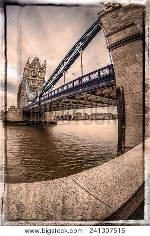 Old Photo In Fish Eye Lens View With Architecture From Tower Bridge And London Over River Thames. Bo