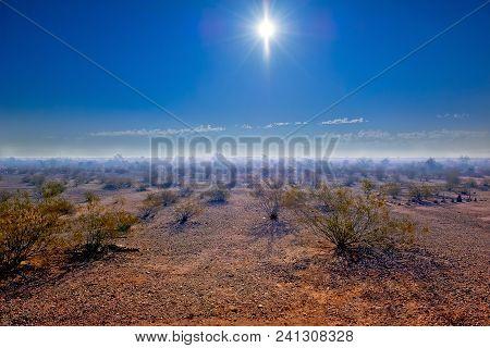 An Hdr Enhanced Photo Of Stinking Smog Rolling Across The Desert Landscape In Arlington Arizona. Thi