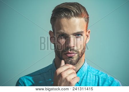Thinking Bearded Man Wearing Casual Clothes. Thoughtful Attractive Man With Stylish Hair Hold Hand O