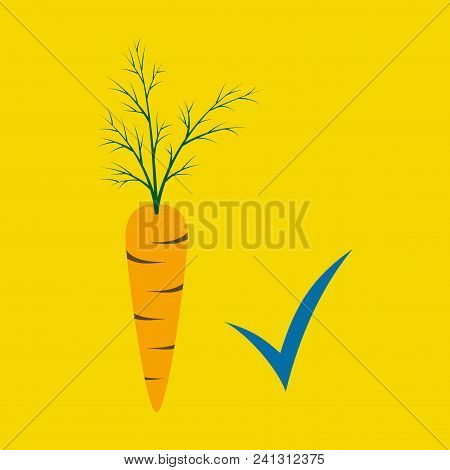 Carrot Flat Icon. Carrot Icon On Background. Veg Icon Illustration. Carrot, Vegetable, Food, Vector