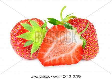 Group Of Strawberries  Isolated On A White Background In Close-up