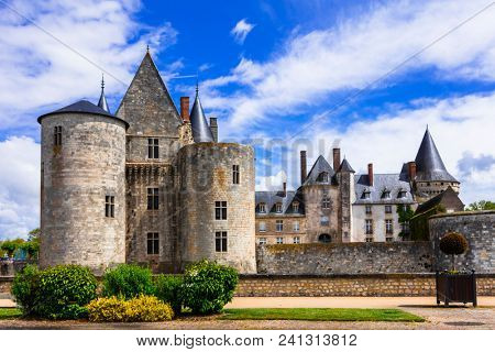 Great castles of Loire valley in France. Sully-sur-loire