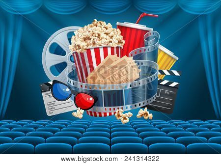 Cinematograph Concept Banner Design Template With Popcorn And Other Elements On Cinema Theme On Back