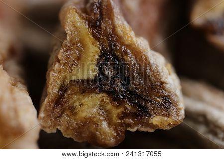 Dried Banana Delicious Section. Macro Closeup. Natural Health Vitamins.