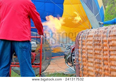 Process Of Inflate The Balloon Before The Flight Using A Propane Burner And A Powerful Hot Air Ballo