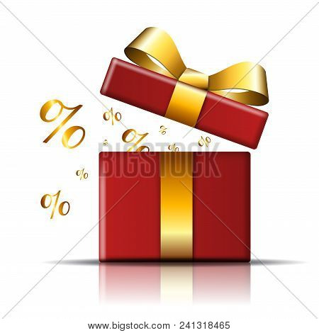 Gift Box Sale Icon. Surprise Present Red Template, Gold Ribbon Bow, Isolated White Background. Opene