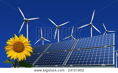 Mono-crystalline solar panels, wind turbines and sunflower against a blue background