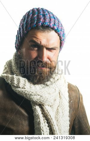 Male Fashion. Casual Bearded Male In Jacket, Scarf And Hat. Bearded Hipster Wearing Demi-season Clot