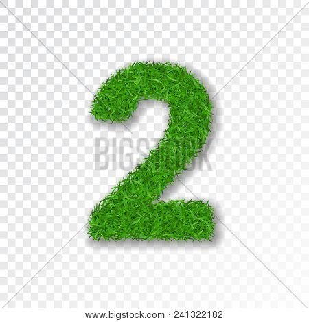 Grass Number 2. Green Number Two, Isolated On White Transparent Background. Green Grass 2, Fresh Sym