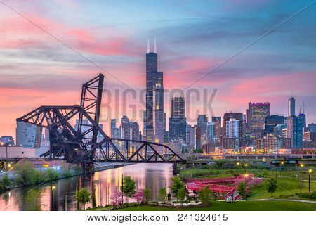 Chicago, Illinois, USA park and downtown skyline at twilight.