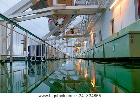 Damp Deck Of The Ship In The Daytime.