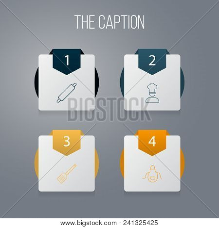 Icon Line Cooking Set Of Apron, Chef, Spatula And Other Vector Objects. Also Includes Chef, Apron, R