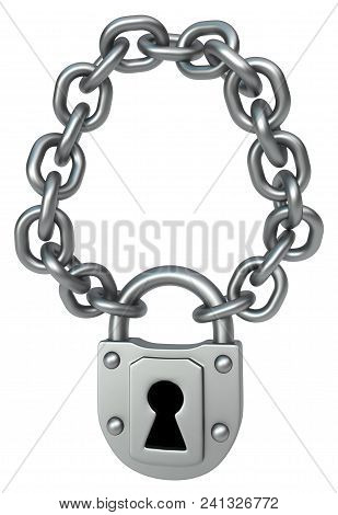 Lock Hanging On Chain Necklace Shape Item, 3d Illustration, Vertical, Isolated, Over White