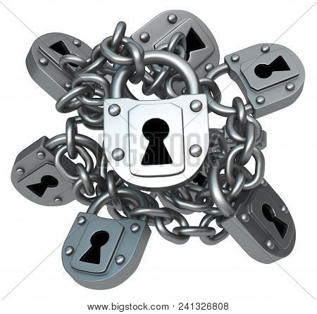 Locks Bunch Chain Metal, 3d Illustration, Horizontal, Isolated, Over White