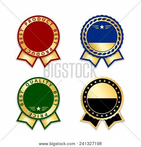 Ribbon Award Best Price Labels Set. Gold Ribbon Award Icons Isolated White Background. Best Quality