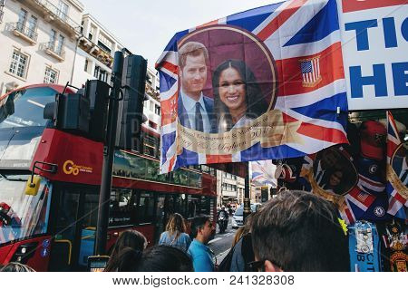 London, United Kingdom - May 18, 2018: Street Shop Selling Souvenir Memorabilia Royal Wedding Celebr