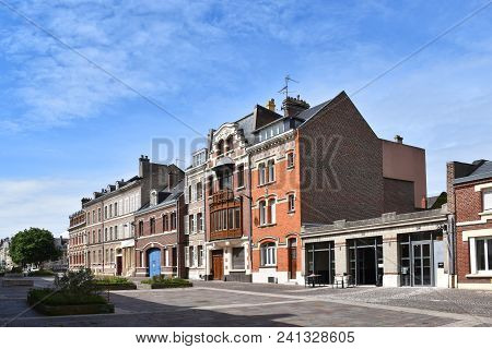 Amiens, France, Europe - July 26, 2017.houses In Amiens (france, Europe), Lit By The Bright Sun, Wit