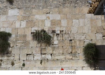 Close Up On Western Wall Also Called Wailing Wall In Jerusalem, Israel, Day Of Jerusalem