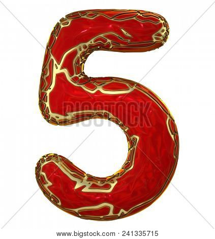 Number 5 (five) in low poly style red color isolated on white background. 3d rendering