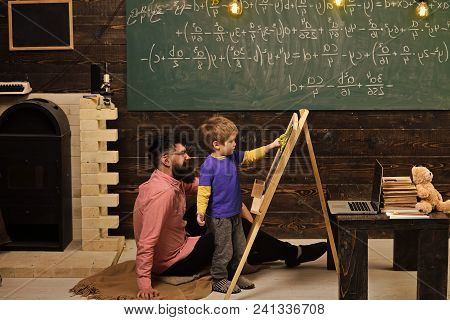 Kids playing - happy game. Teacher and little student learning math. Daddy teaching son arithmetic. Informal education concept. poster