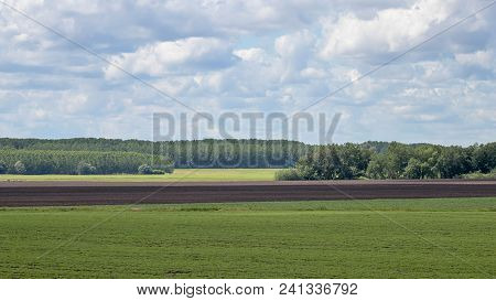Summer Countryside Fields. Distant Fields Landscape. Summer Countryside Fields.
