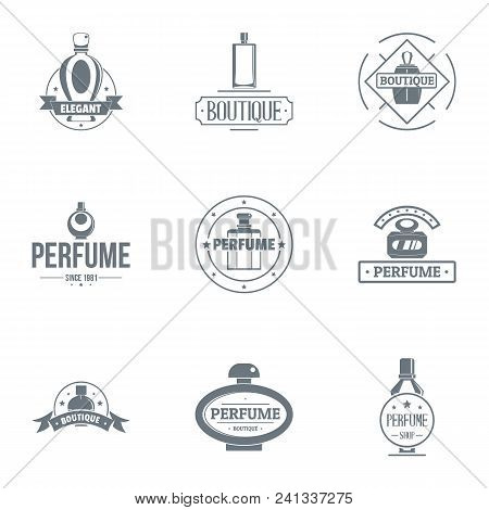 Unique Perfume Logo Set. Simple Set Of 9 Unique Perfume Vector Logo For Web Isolated On White Backgr