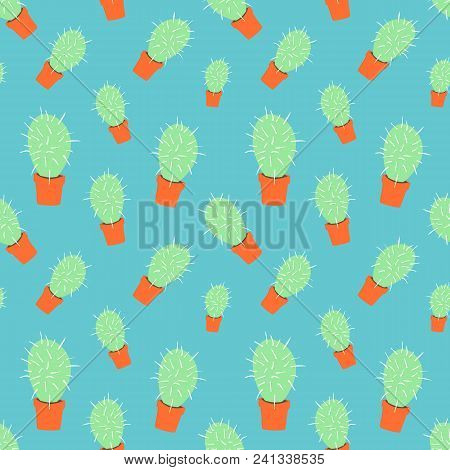 Home Blossom Green Cactus In Orange Pot In Doodle Style, Flat Cartoon Colors, Seamless Pattern Isola