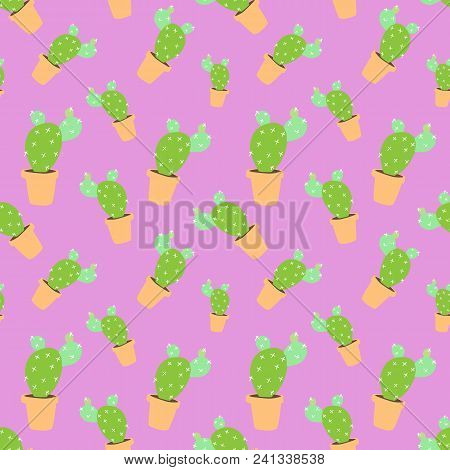 Home Blossom Green Cactus In Brown Pot In Doodle Style, Flat Cartoon Colors, Seamless Pattern Isolat