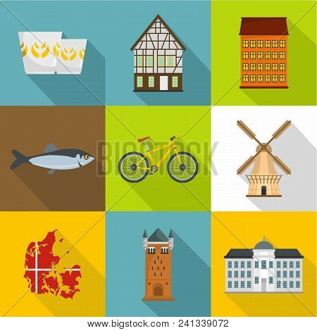 Nordic Country Icons Set. Flat Set Of 9 Nordic Country Vector Icons For Web Isolated On White Backgr