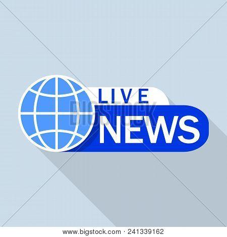 Blue Live Global News Logo. Flat Illustration Of Blue Live Global News Vector Logo For Web Design