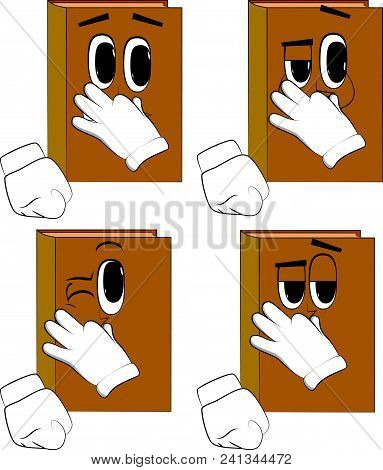 Books Holding His Nose Because Of A Bad Smell. Cartoon Book Collection With Happy Faces. Expressions