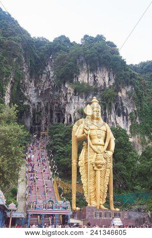 Batu Caves Statue And Entrance Near Kuala Lumpur, Malaysia.